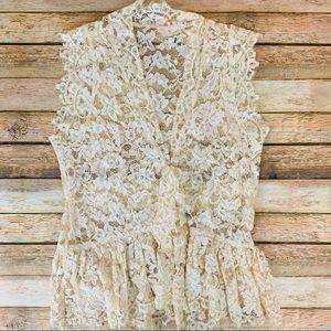 Tops - Cream Lace Deep V Button Front sleeveless top sz S
